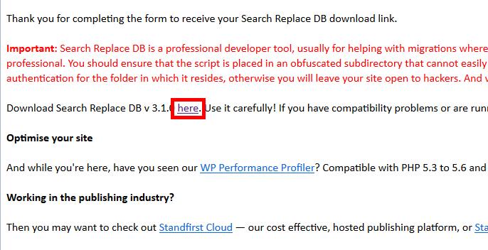 Search Replace DBはメールからダウンロードできます。